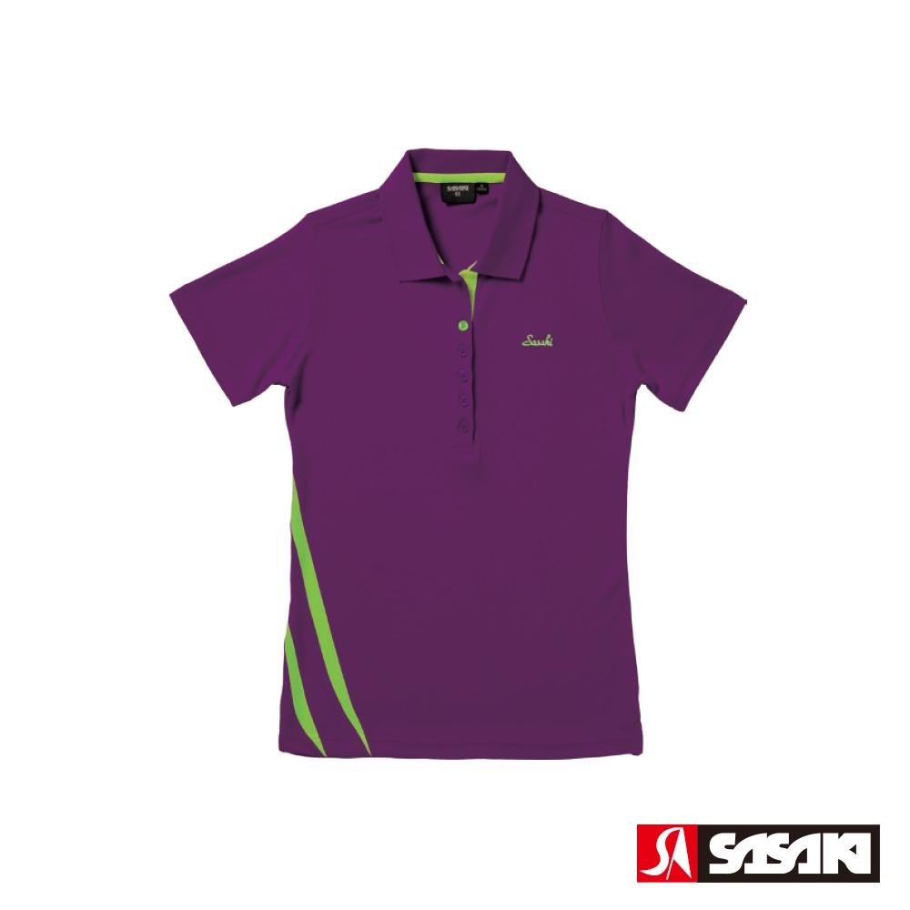 SASAKI 長效性吸濕排汗功能運動短衫-女-深葡萄紫/艷綠