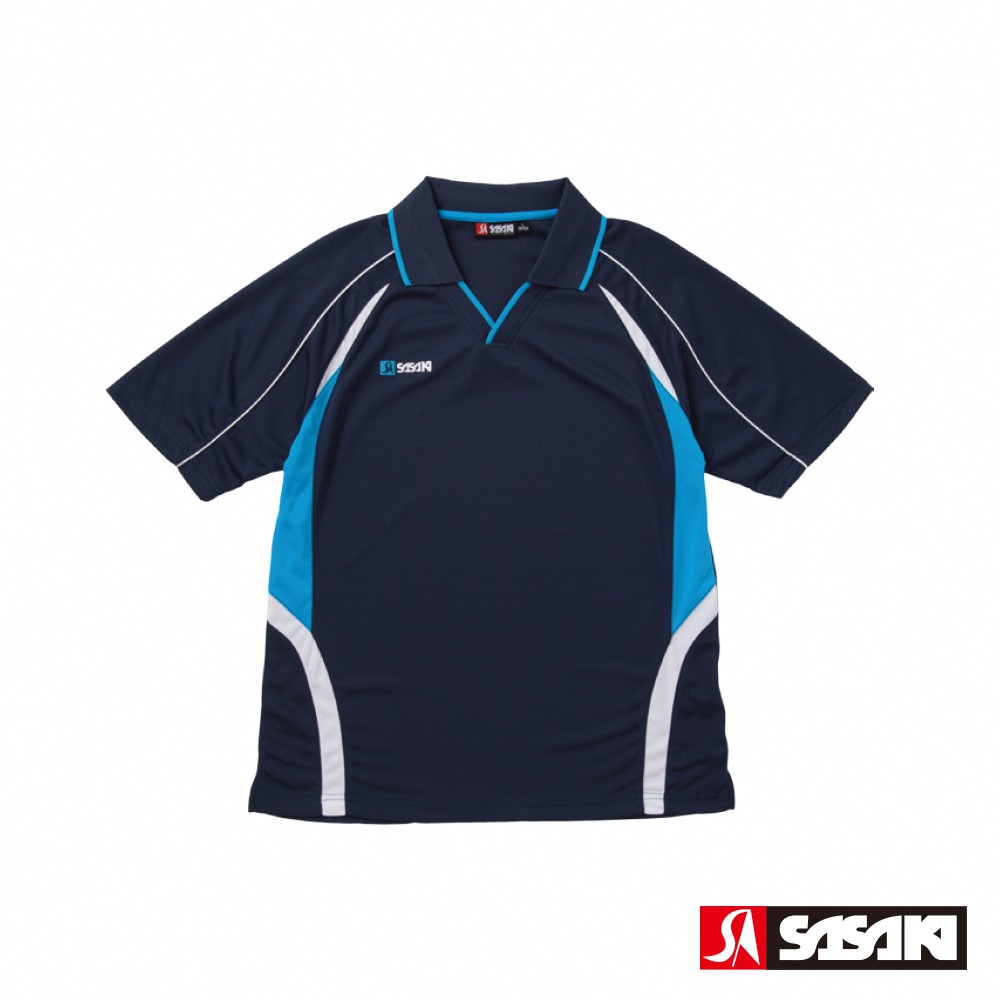 SASAKI 吸濕排汗排球短衫-男-丈青/翠藍
