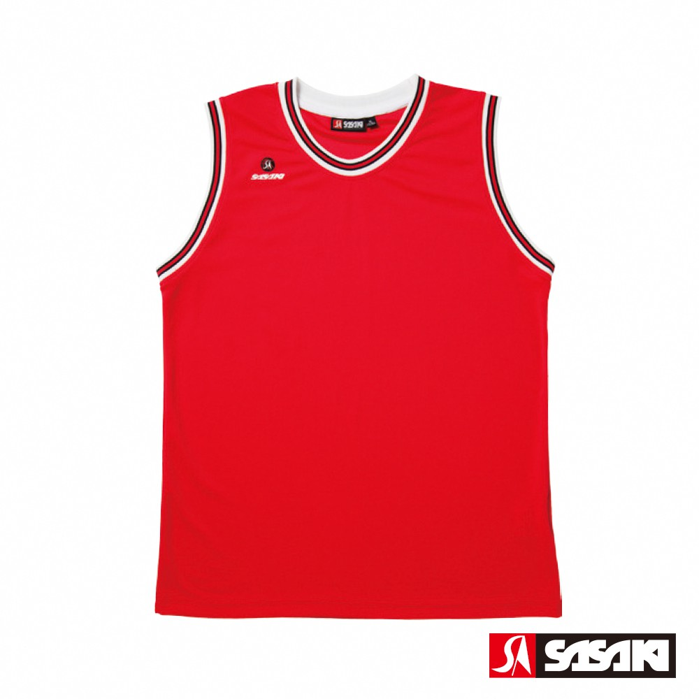 SASAKI 長效性吸排圓領籃球背心-男-紅/黑