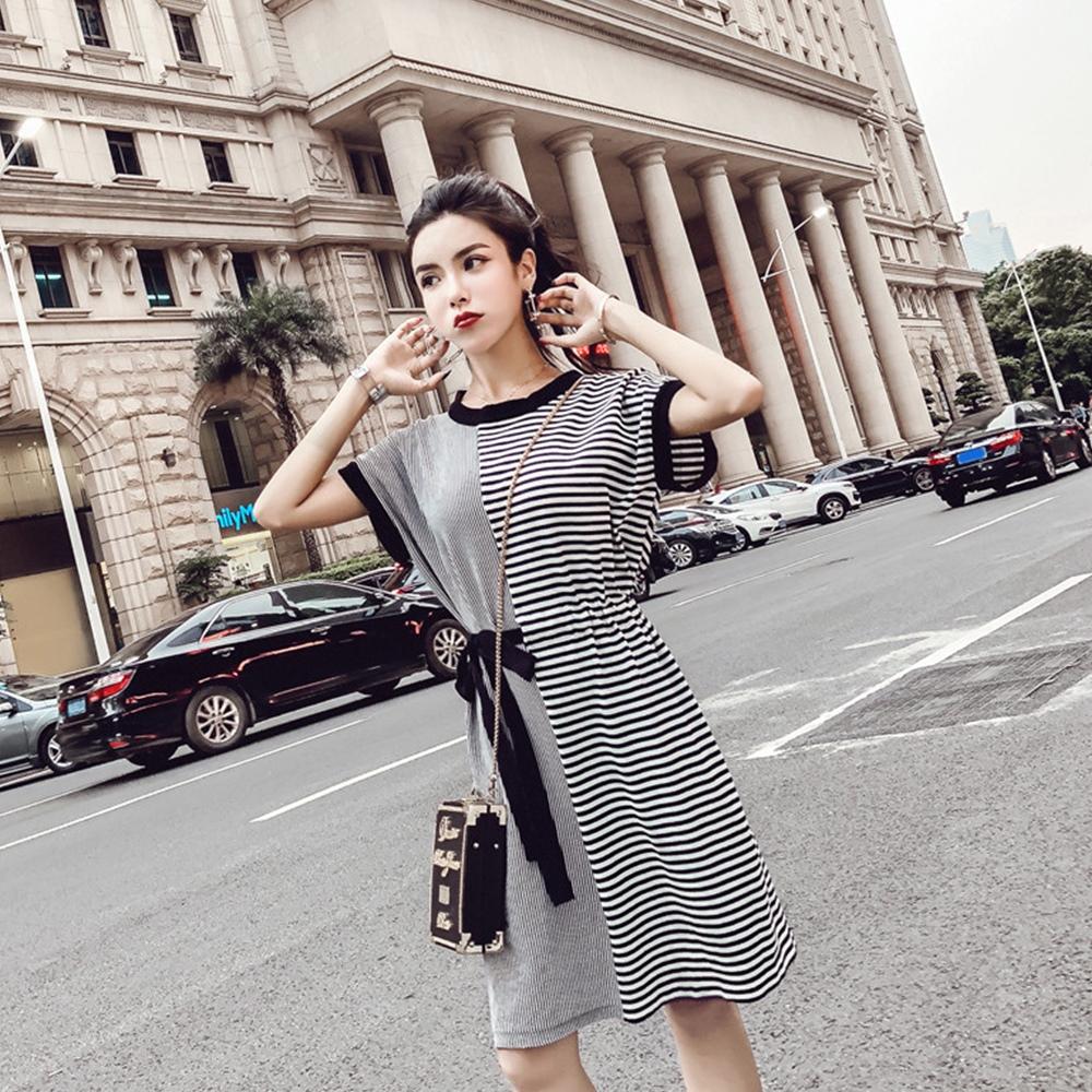 【韓系女衫】韓系橫豎條紋拼接系帶連衣裙
