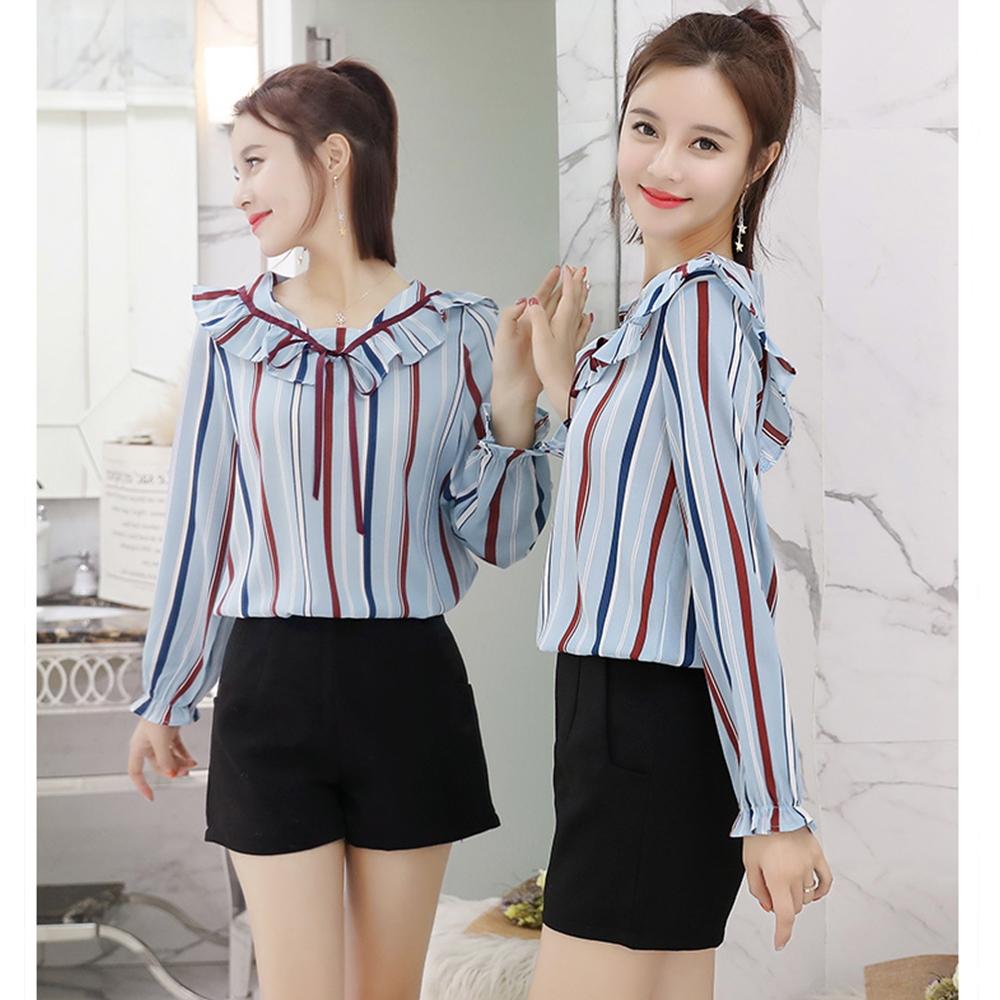【韓系女衫】甜美韓系條紋拼接荷葉邊系帶上衣 (藍色)