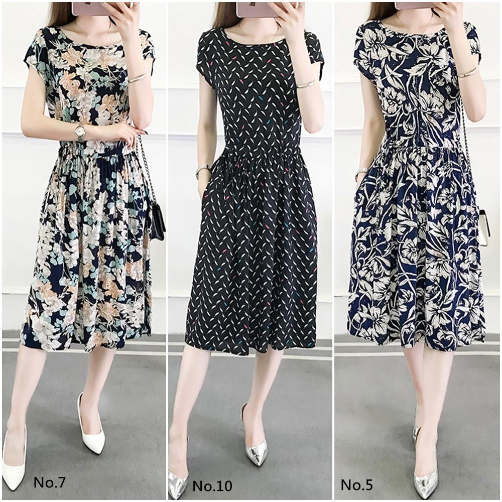 【韓系女衫】夏季舒適棉綢連衣裙(多款可選)