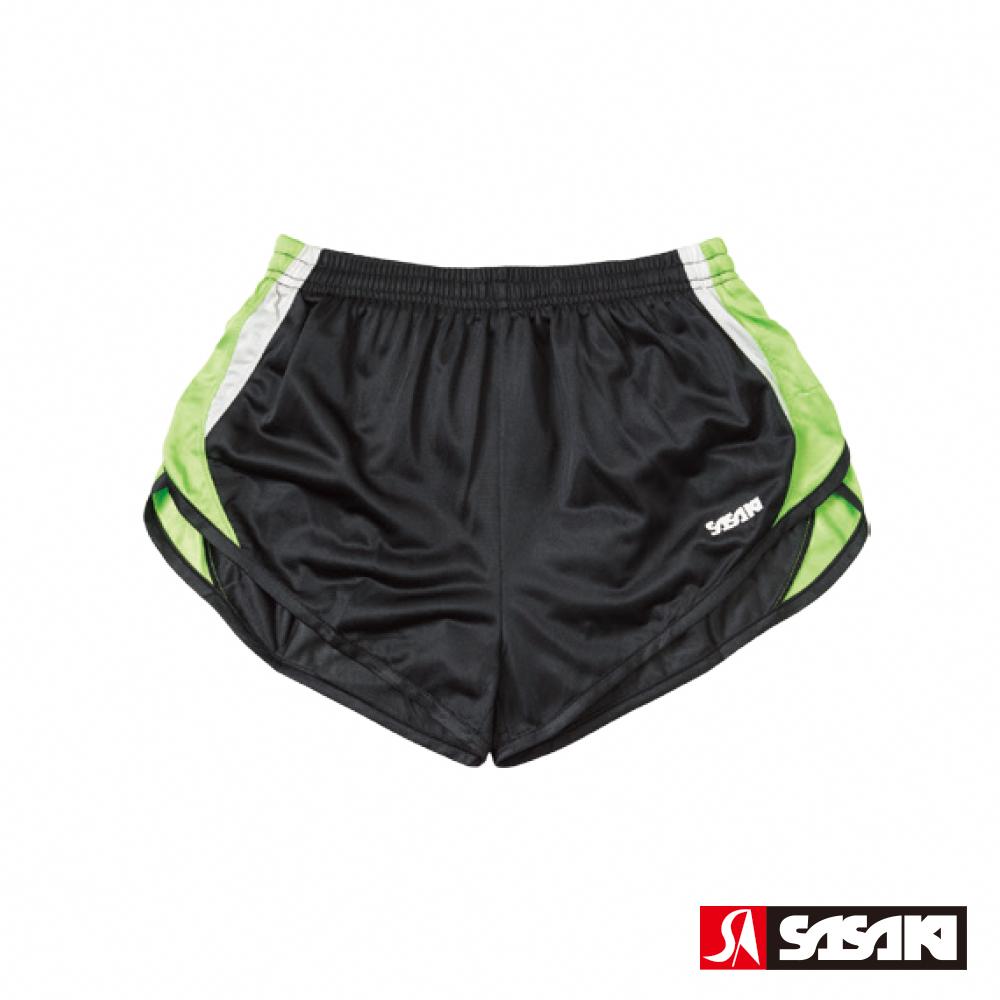 SASAKI 吸濕排汗田徑短褲-女-黑/艷綠/白