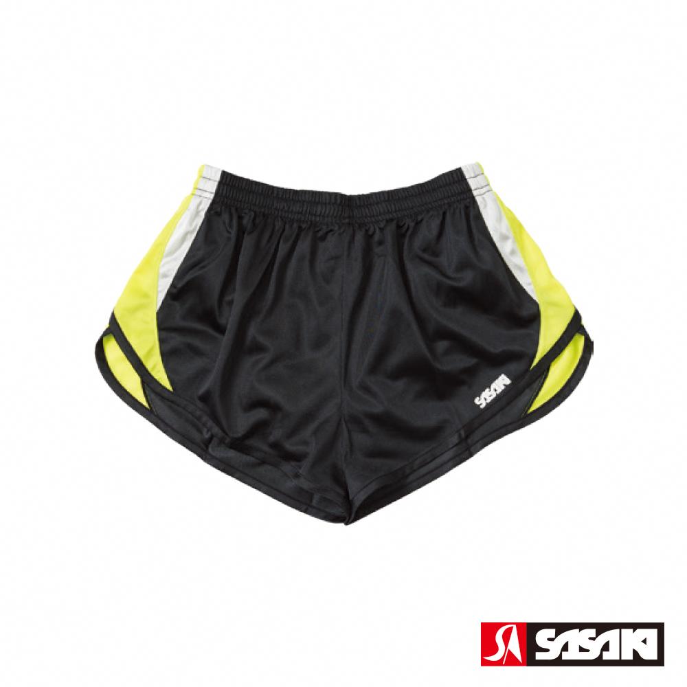 SASAKI 吸濕排汗田徑短褲-女-黑/艷黃/白
