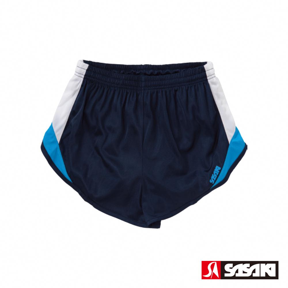 SASAKI 吸濕排汗田徑短褲-女-丈青/白/鮮藍