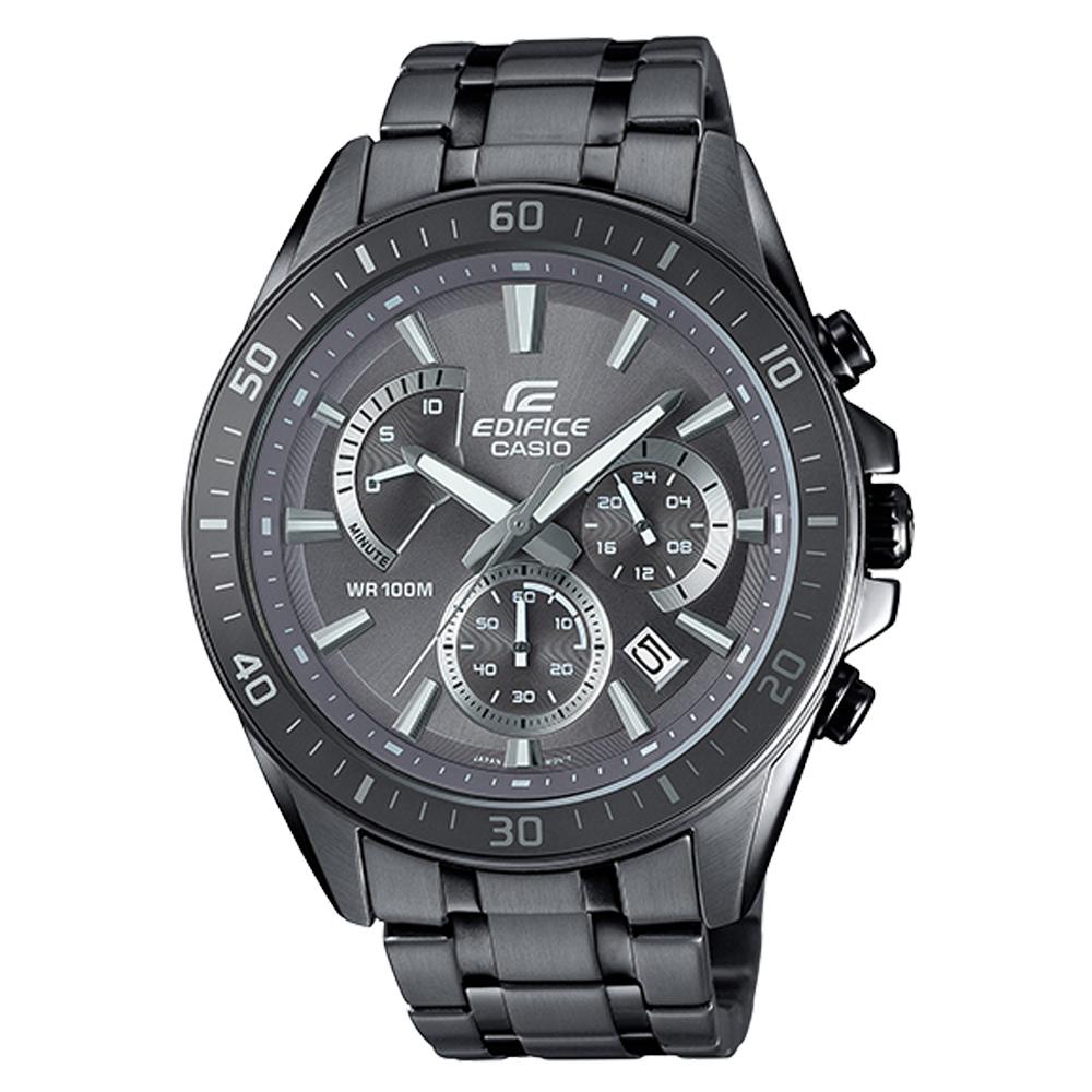 EDIFICE 三眼賽車男錶 不鏽鋼錶帶 深灰色錶面 防水100米 EFR-552GY-8A