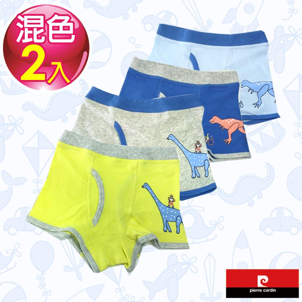 Pierre Cardin皮爾卡登 男兒童彈力恐龍世界平口褲-混色2件組(137002)