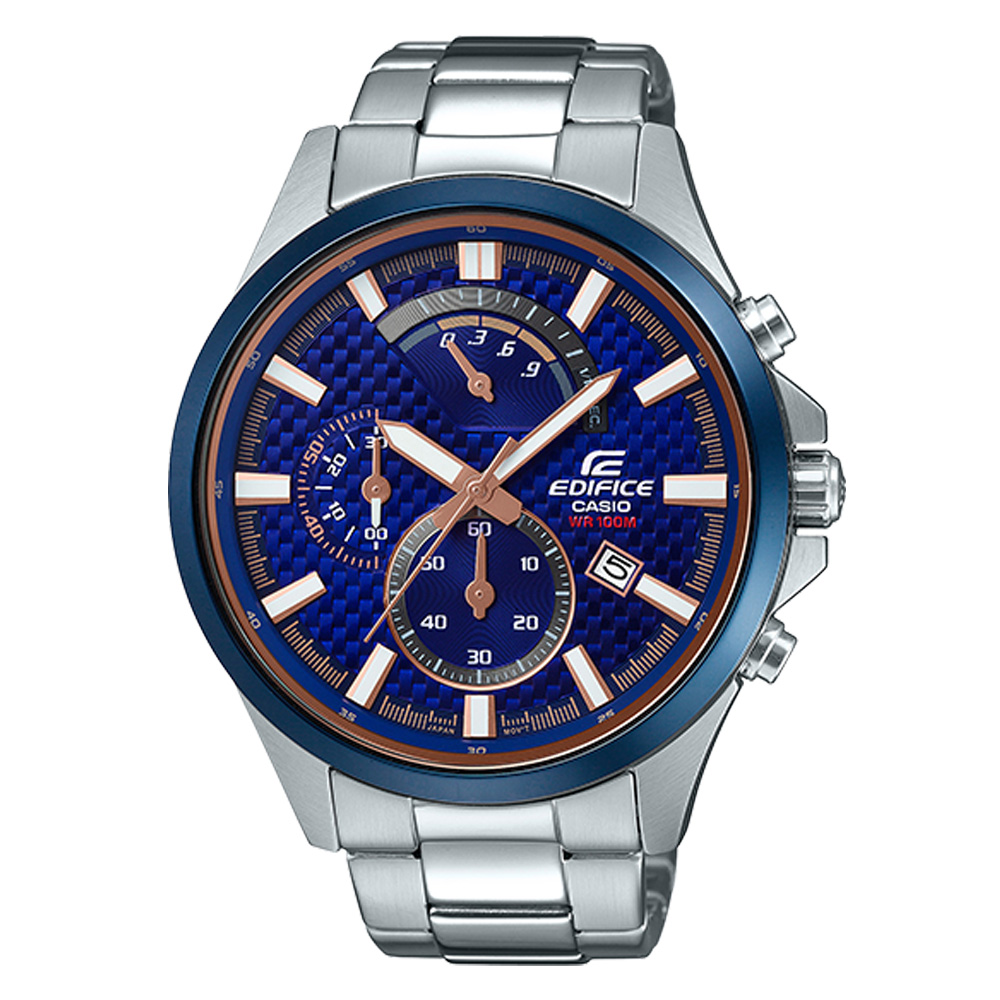 EDIFICE 三眼賽車男錶 不鏽鋼錶帶 防水100米 日期顯示 EFV-530DB-2A