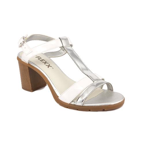The FLEXX - PATTY/LAME PU PATENT PU  銀/白 T字鞋面 木紋粗跟 合成皮 涼鞋(D6015_08_220434)