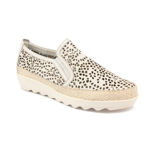 The FLEXX - CALL ME/LASER VACC 白色 鏤空 牛皮 草編厚底鞋(A158_43_231000)