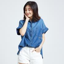 SOMETHING 花卉刺繡短袖牛仔襯衫-女-中古藍