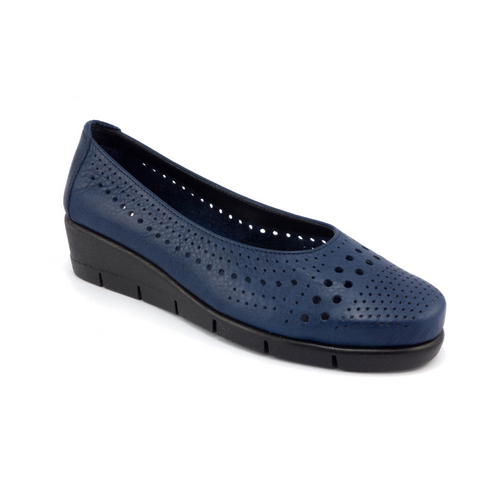 The FLEXX - PARANOIA/SARATOGA  海軍藍 鏤空鞋面 牛皮 楔型鞋(B235_37_394002)