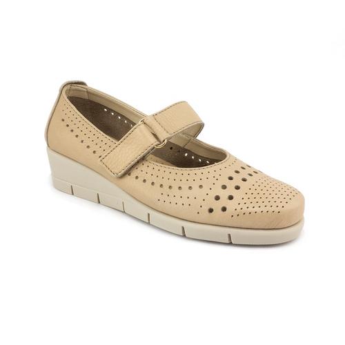 The FLEXX - PANET ONE/SARATOGA  沙丘/米黃 鏤空 側邊魔鬼粘 牛皮 楔型鞋 (B235_39_395013)