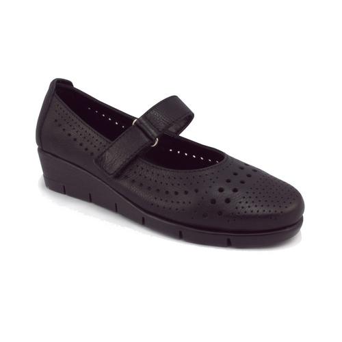 The FLEXX - PANET ONE/SARATOGA  黑色 鏤空 側邊魔鬼粘 牛皮 楔型鞋 (B235_39_399999)