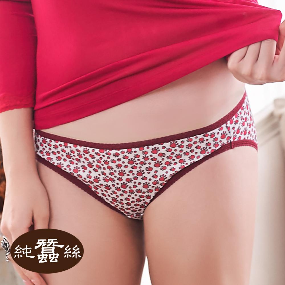 【岱妮蠶絲】印花低腰三角蠶絲內褲(紅色腳丫)