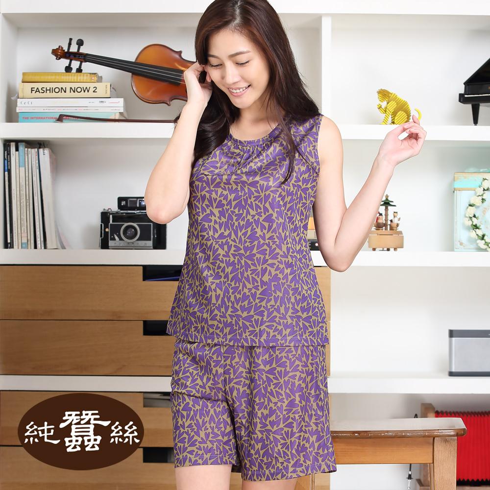 【岱妮蠶絲】蠶絲短袖居家休閒上衣+短褲(紫色滿天心)