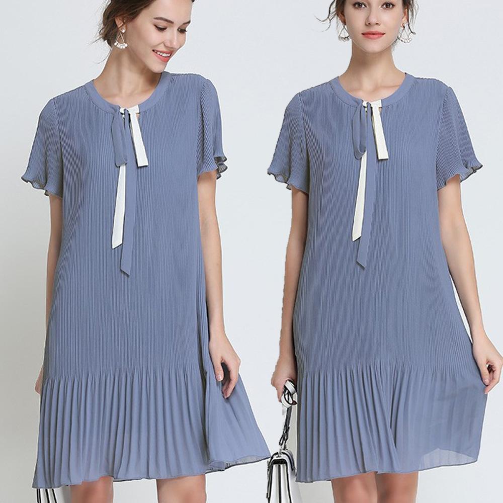 麗質達人(M-5XL)藍灰色百摺雪紡洋裝3080