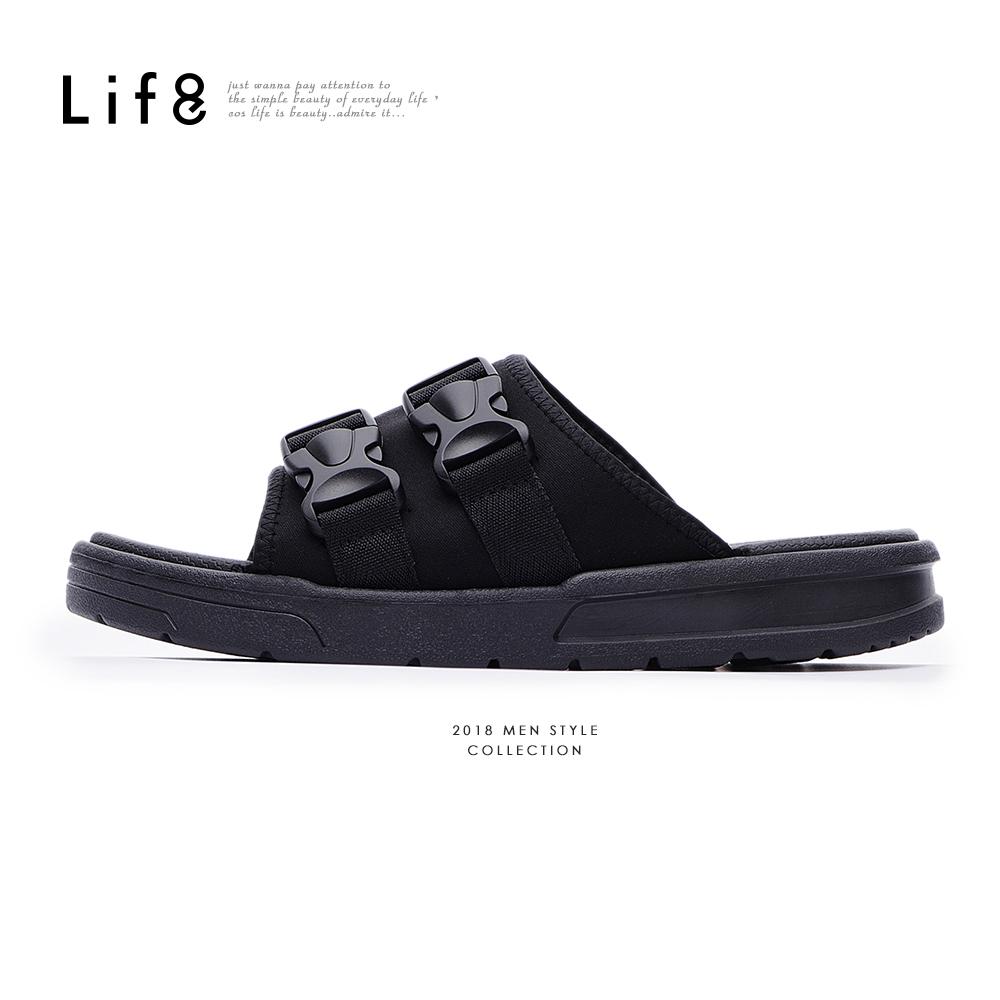 【Life8】Sport 輕量 彈力布 雙帶扣拖鞋-09866-黑色