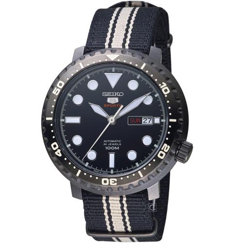 SEIKO精工5號復刻時尚機械腕錶 4R36-06N0X SRPC67J1 黑x黑帆布