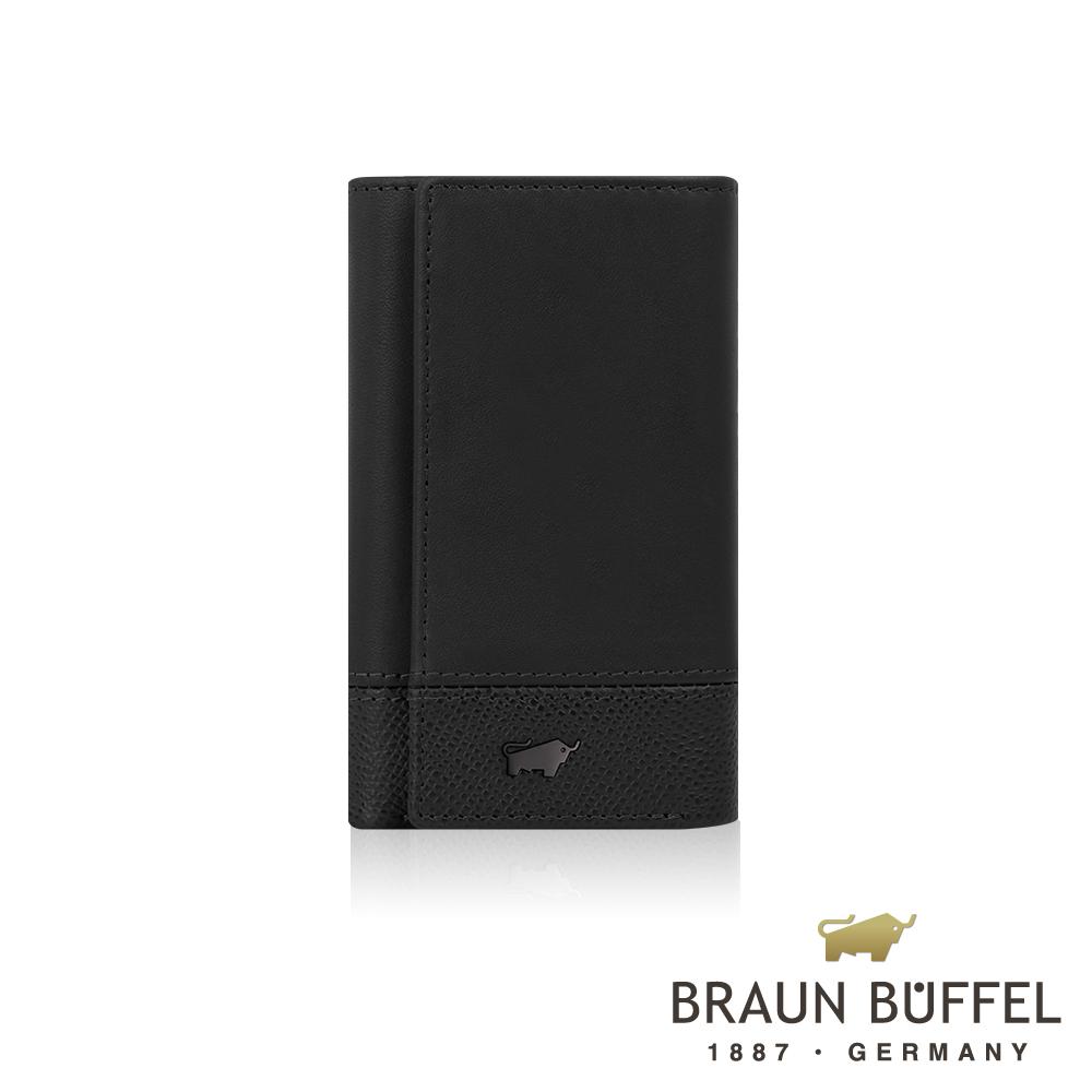 【BRAUN BUFFEL】德國小金牛 邦尼系列鎖圈鑰匙包(幻影黑)BF322-105-BK