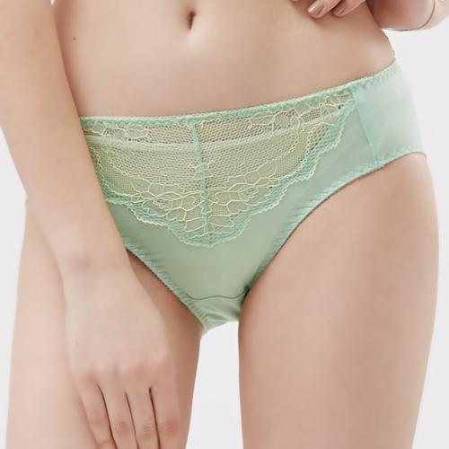 【思薇爾】玫瑰花宴系列M-XXL蕾絲中腰三角內褲(粉彩綠)