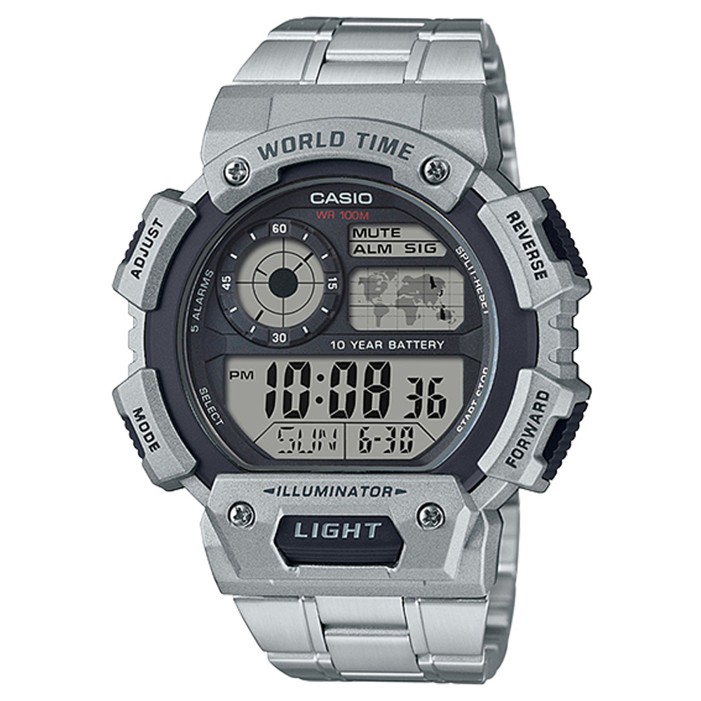 CASIO 卡西歐 電子男錶 不鏽鋼錶帶 防水100米 10年電力 AE-1400WHD-1A