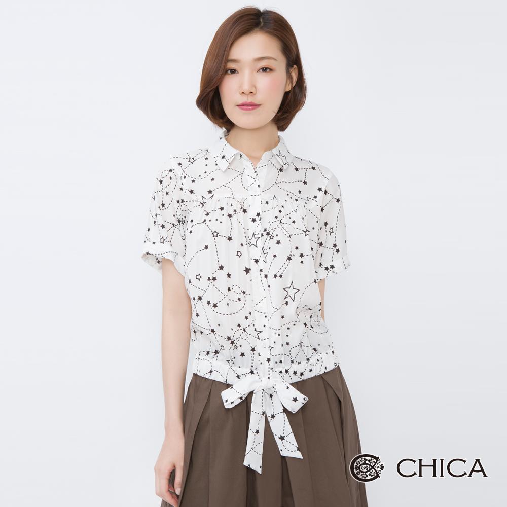 CHICA 盛夏星空星星圖騰綁帶設計襯衫(2色)