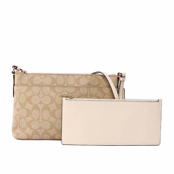 【COACH】PVC LOGO皮革素面斜背包(附可拆內袋)(白色)