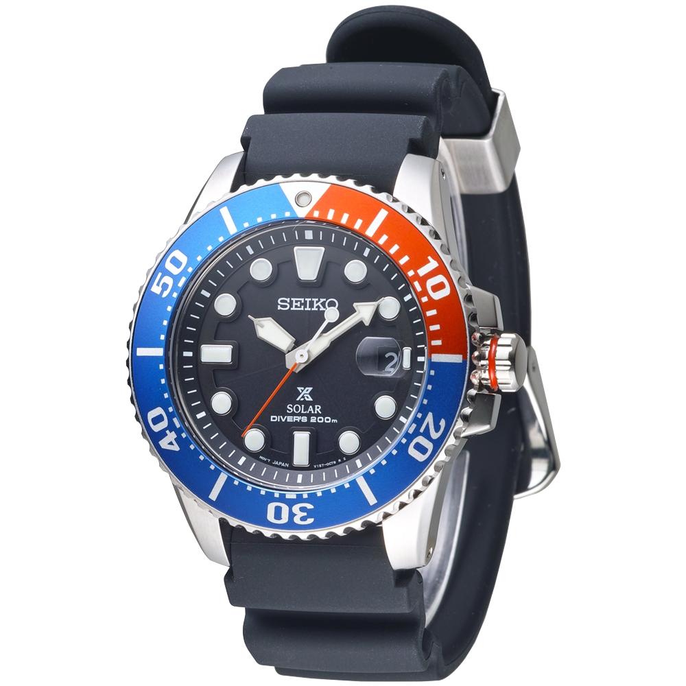 SEIKO SOLAR 大刻度潛水夫200M膠帶男錶(SNE439P1)-黑*紅藍框
