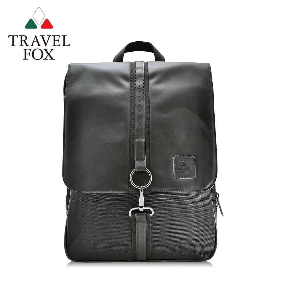 (快速到貨)【TRAVEL FOX 旅狐】時尚皮質三層減壓電腦後背包 (TB535-01) 黑色