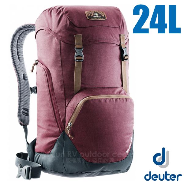 【德國 Deuter】WALKER 24L 輕量透氣休閒旅遊背包/3810717 紫紅/灰