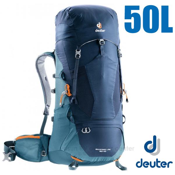 【德國 Deuter】Aircontact Lite 50+10L 專業輕量拔熱透氣背包_3340318 海軍藍/藍