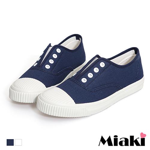 【Miaki】休閒鞋.韓式學院風帆布餅乾鞋 (白色 /  藍色)