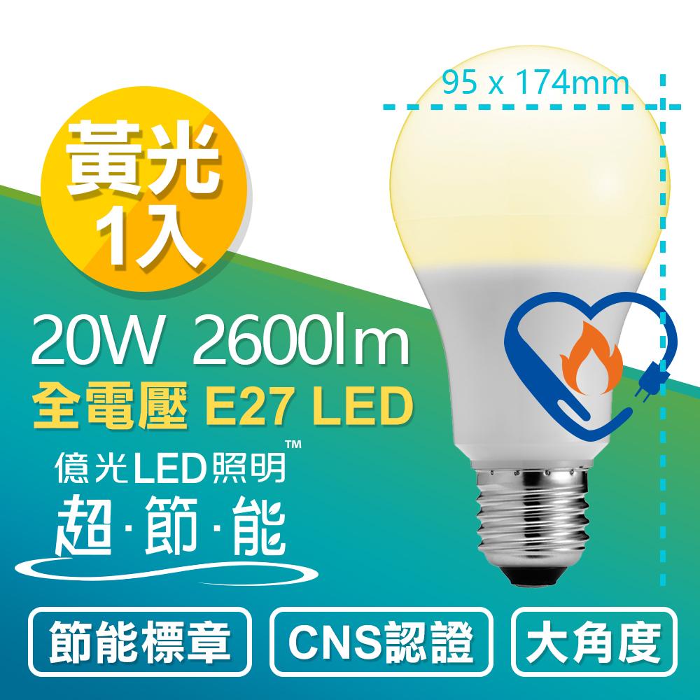 【Everlight 億光】20W 超節能 LED 燈泡 全電壓 E27 節能標章 (黃光1入)