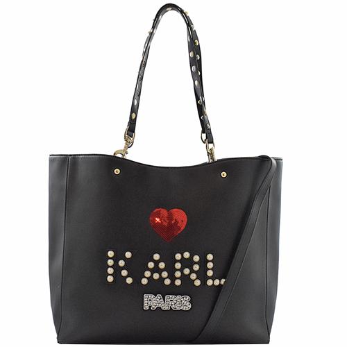 KARL LAGERFELD R-SHUGG珍珠LOGO愛心兩用購物包.黑