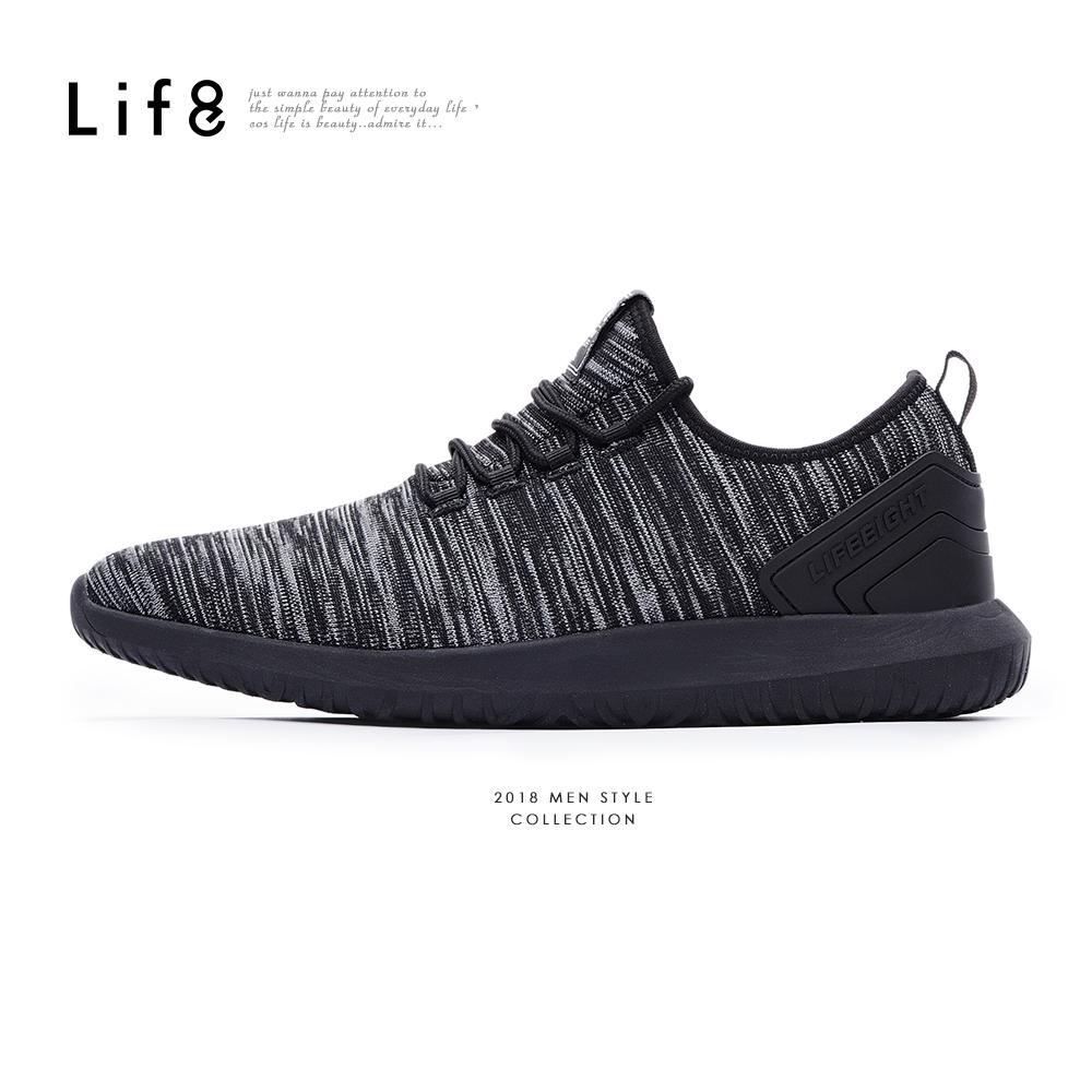 【Life8】Sport 麻花飛織 彈力底運動鞋-09875-黑色
