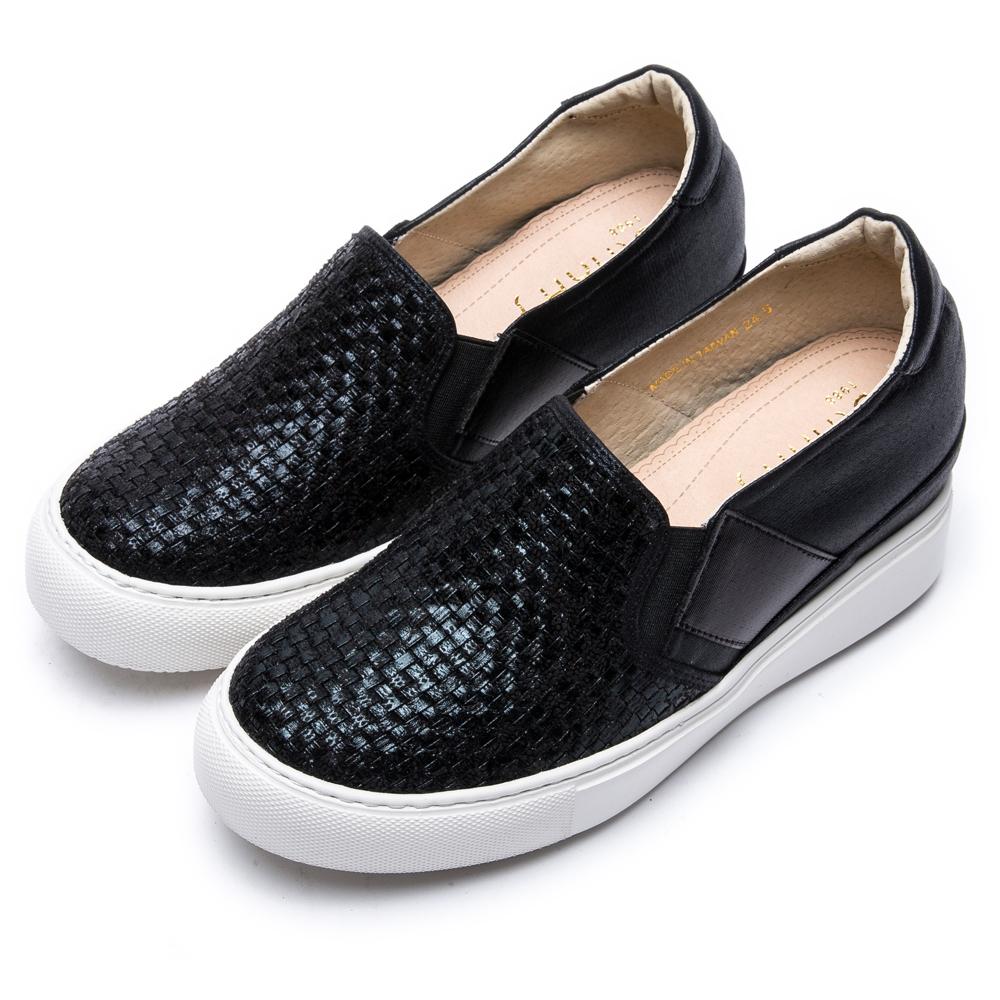 DIANA輕˙愛的—編織進口布厚底內增高休閒鞋–黑