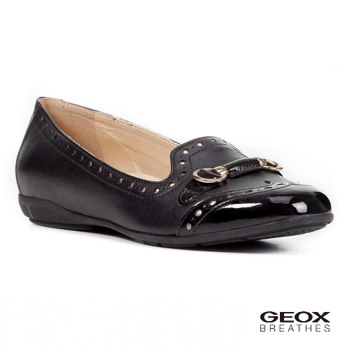 GEOX - D ANNYTAH C  義大利透氣鞋 飾釦 雕花細節 平底鞋 黑色(D827NC054029999)