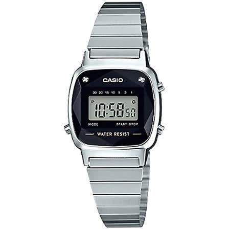 CASIO 卡西歐 電子女錶 不鏽鋼錶帶 黑色錶面 立體多面切割玻璃 LA670WAD-1D