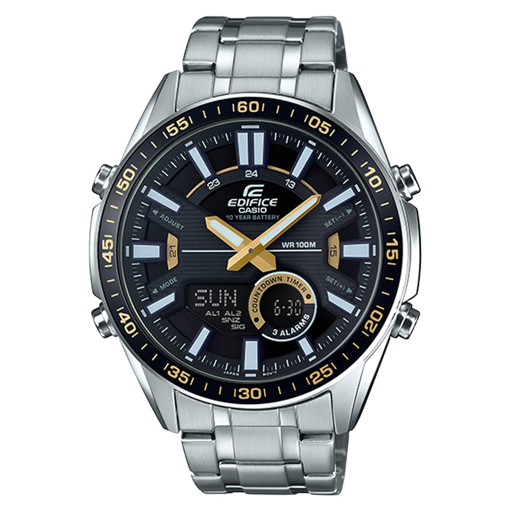 EDIFICE  雙顯男錶 不鏽鋼錶帶 黑X黃錶面 防水100米 EFV-C100D-1B