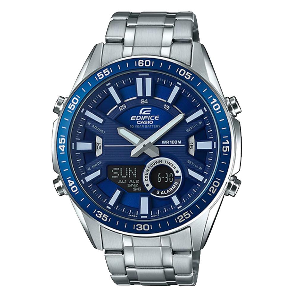 EDIFICE  雙顯男錶 不鏽鋼錶帶 藍色錶面 防水100米 EFV-C100D-2A
