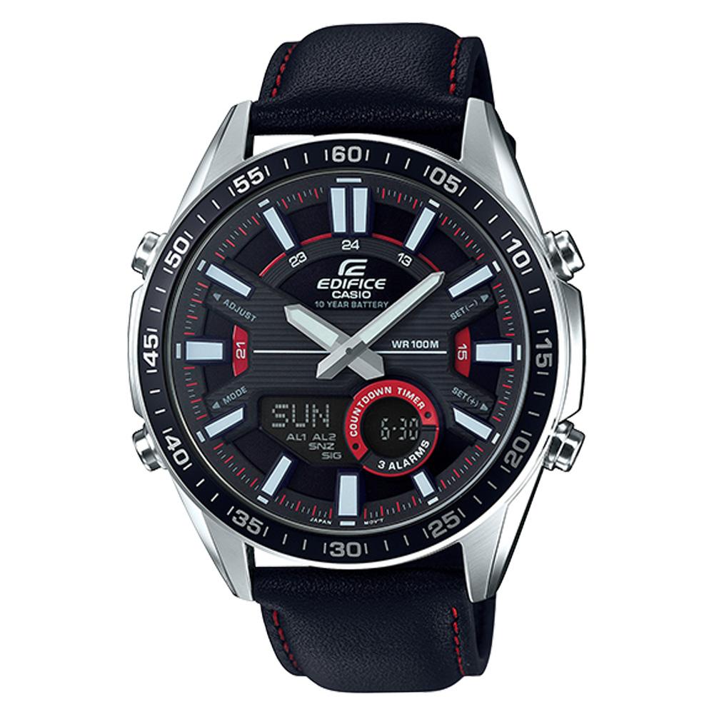 EDIFICE 雙顯男錶 皮革錶帶 黑X紅 防水100米 EFV-C100L-1A
