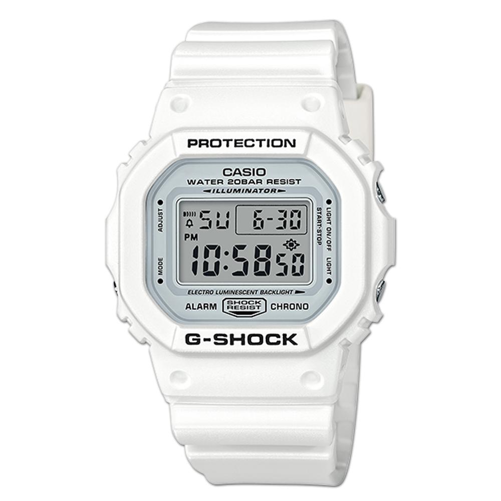 G-SHOCK 電子男錶 樹脂錶帶 銀色錶面 防水200米 DW-5600MW-7D