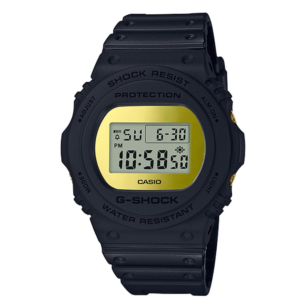 G-SHOCK 復刻經典電子男錶 樹脂錶帶 金色錶面 防水200米 DW-5700BBMB-1D