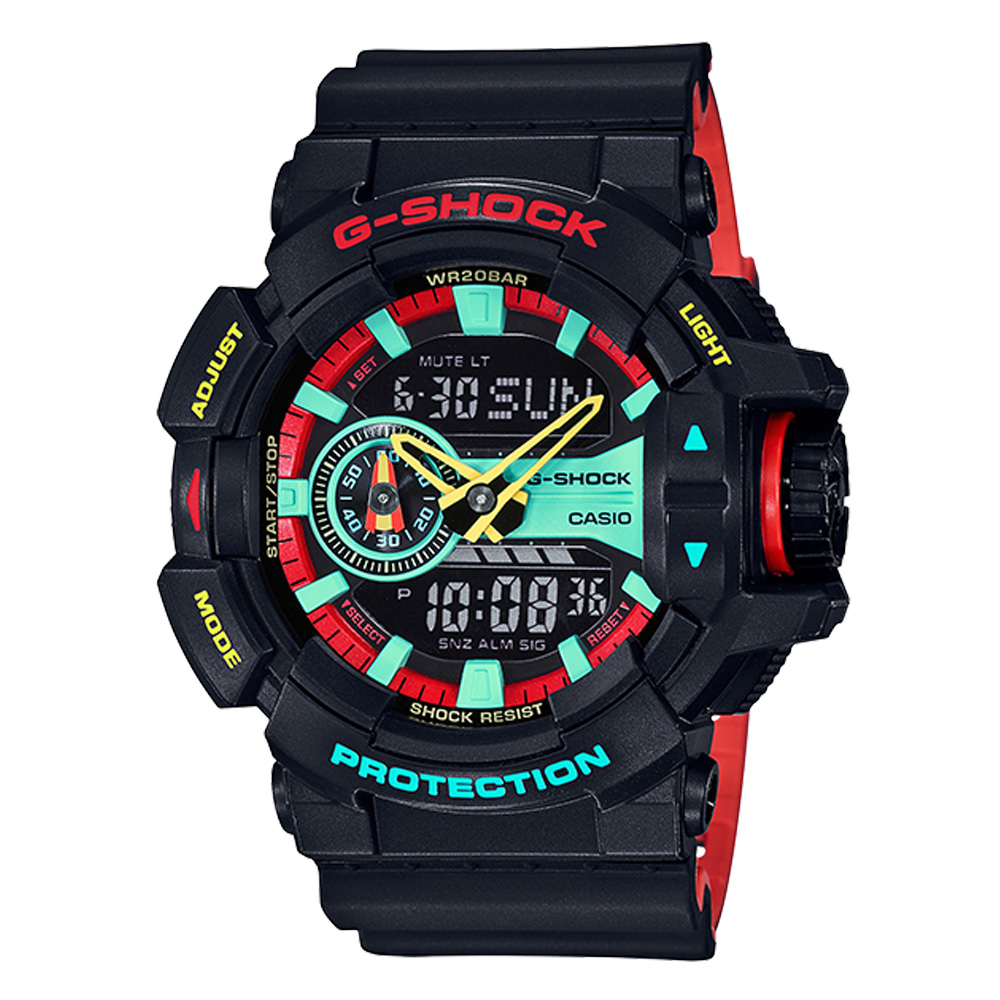 G-SHOCK 雷鬼風格雙顯男錶 樹脂錶帶 紅X綠X黃 防水200米 世界時間 GA-400CM-1A