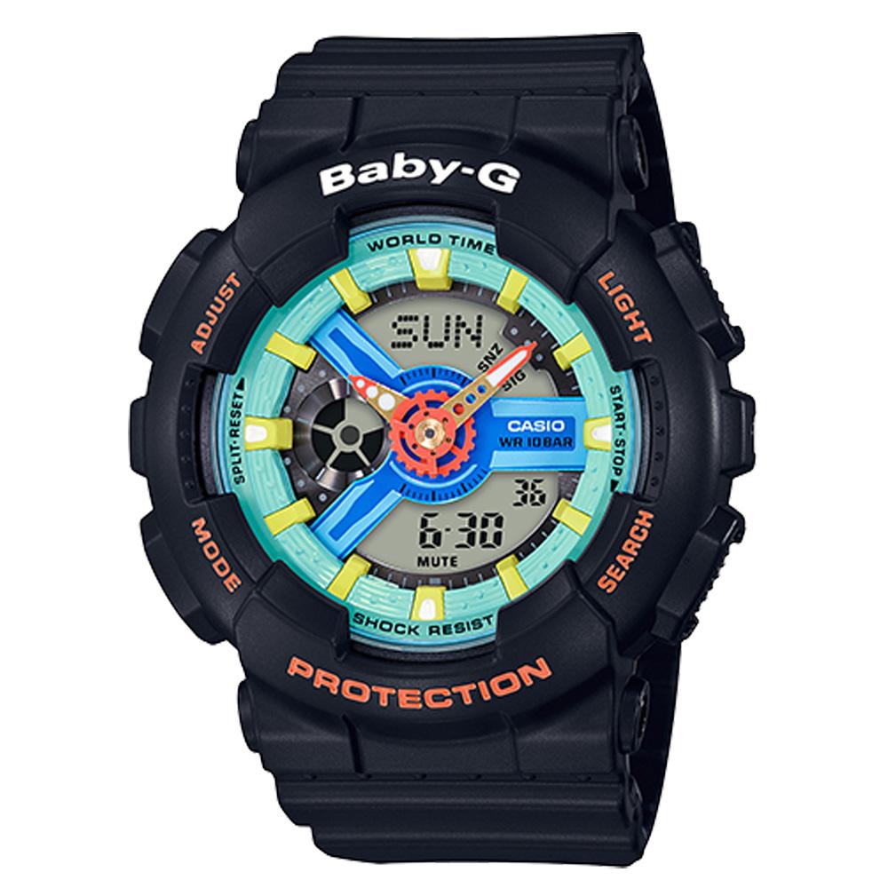 BABY-G 90年代色彩 雙顯女錶 樹脂錶帶 綠X藍X紅色錶面 防水100米 世界時間 BA-110NR-1A