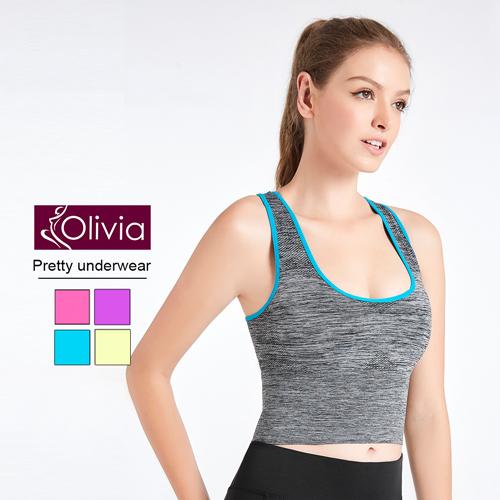 【Olivia】無鋼圈高彈力防震包覆加長運動內衣(藍色)