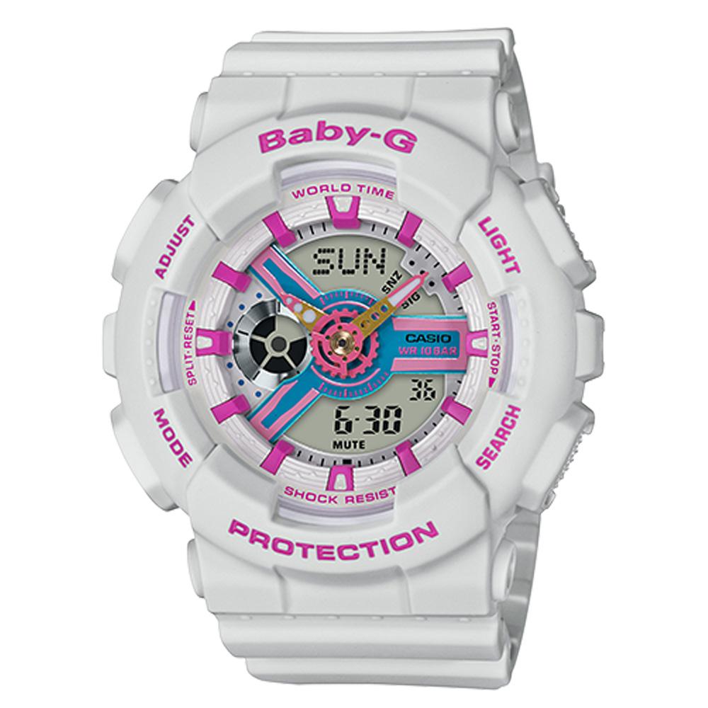 BABY-G 90年代色彩 雙顯女錶 樹脂錶帶 防水100米 世界時間  BA-110NR-8A