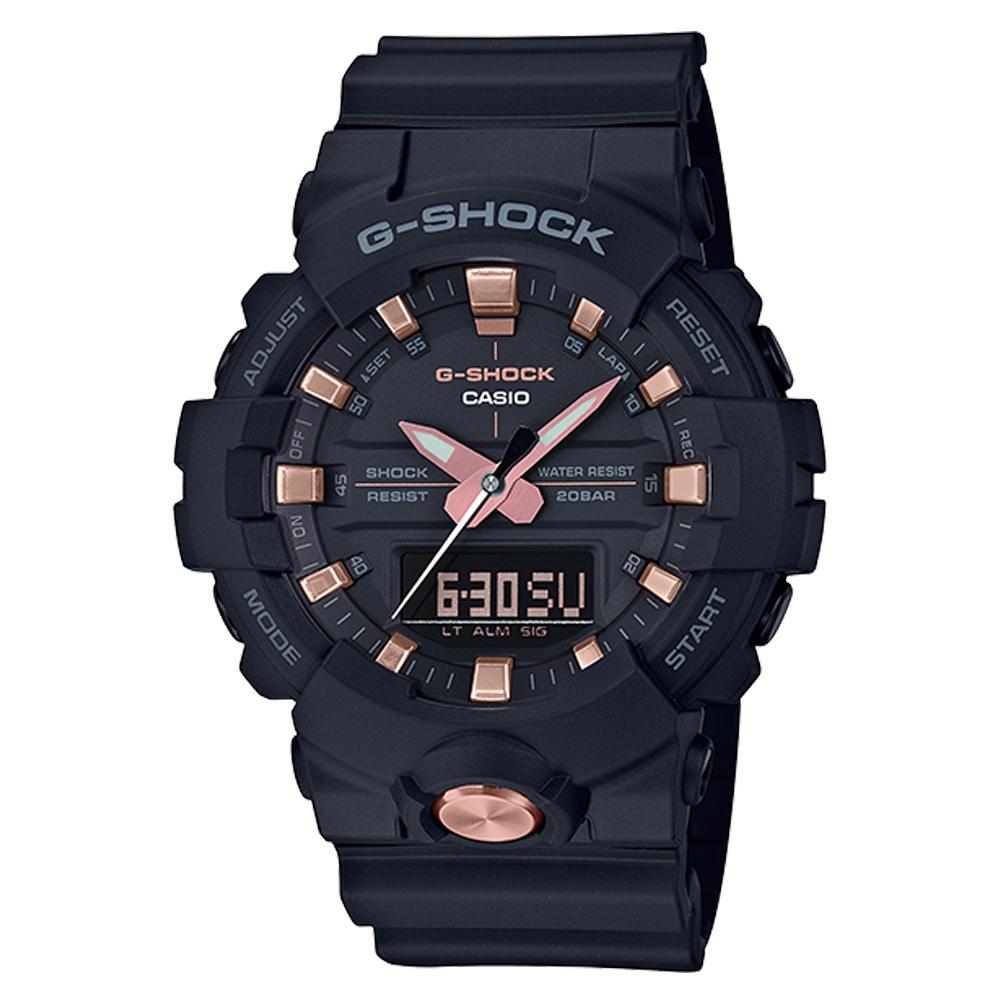 G-SHOCK 街頭潮流雙顯男錶 數脂錶帶 黑X玫瑰金錶面 防水200米 世界時間 GA-810B-1A4