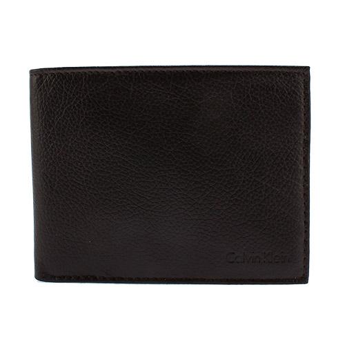 Calvin Klein 荔枝壓紋證件短夾鎖圈禮盒-咖啡色